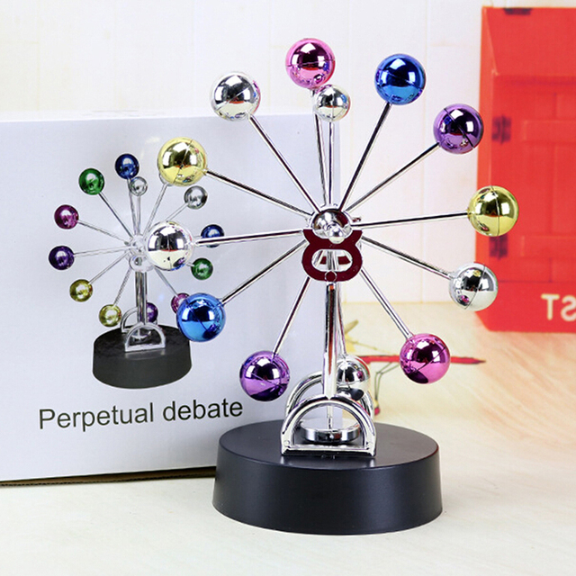 1pc Home Office Desk Decoration Magnetic Perpetual Motion Ferris Wheel  Electric DIY Spinning Colorful Balls Children