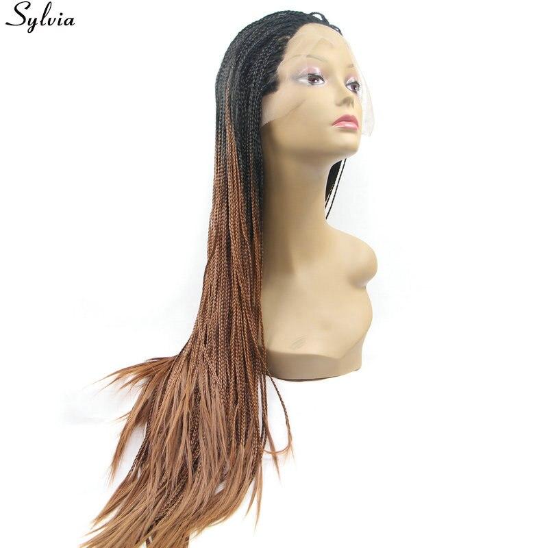 Sylvia черный/коричневый ломбер # 1B/Мед блондинка парик синтетического афроамериканца длинные плетеный ящик косы Парики Для черные женские