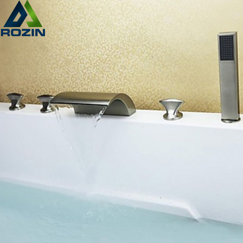Brushed Nickel Waterfall Bathtub Faucet Deck Mounted with Hand Shower Bathroom Tub Filler Bath Mixer Taps