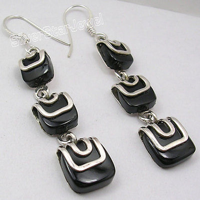 Silver Natural BLACK ONYX BESTSELLER Dangle Earrings 2 3/8 inches