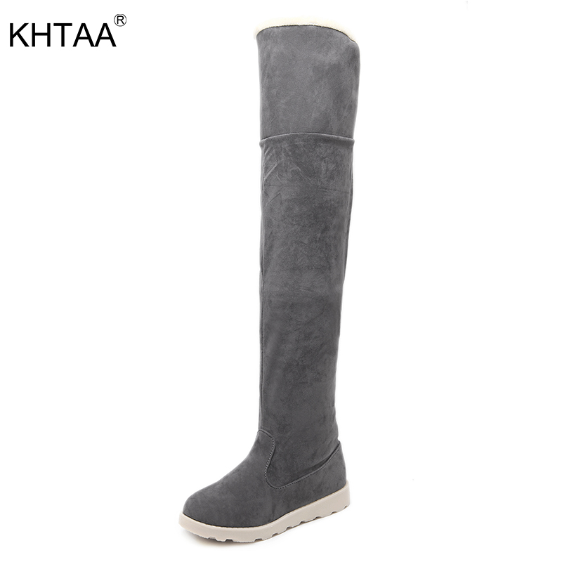 KHTAA Woman Snow Boots Winter Flat Warm Fur Plush Platform Over The Knee Mujer Botas Two