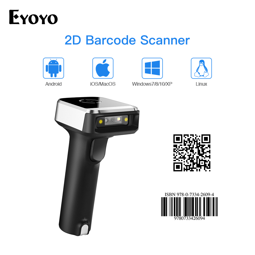 Eyoyo Barcode-Scanner Wireless Data 2D USB QR for PDF417 Matrix UPC Compatible Bt-4.1