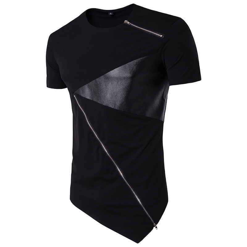 Summer mens clothing tshirts hip hop round neck zipper contrast color stitching short sleeves T shirt fashion male tops 2colour