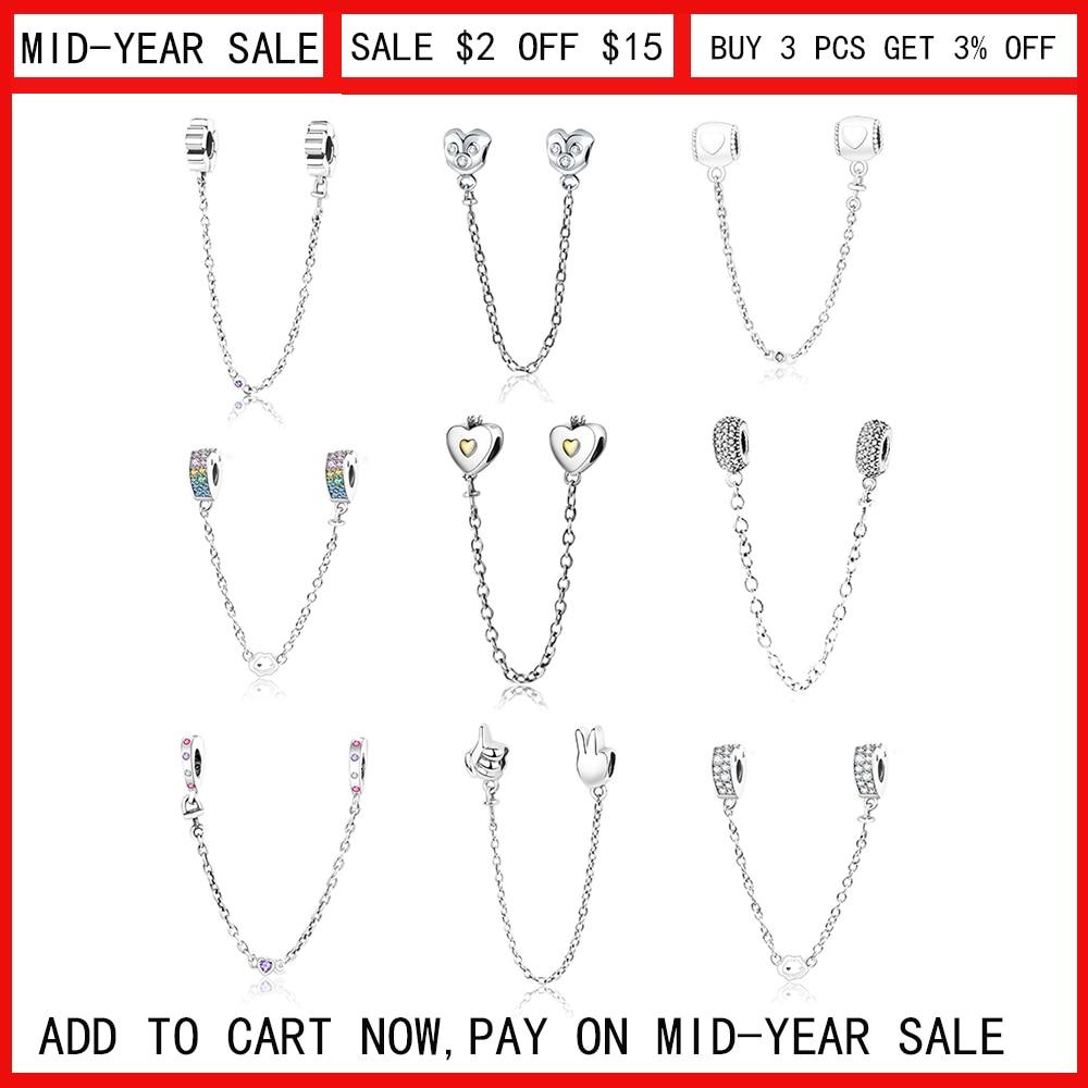 abb879e76 2018 Newest 925 Sterling Silver Heart Safety Chain Charms Beads With CZ Fits  Original Pandora Charm Bracelet DIY Jewelry Making - a.kataj.me