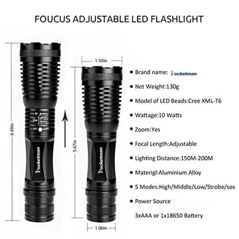 zk50 cree xm-l2 lumens 4500lm Modelo Número : Flashlight