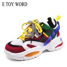 E TOY WORD Sneakers women 2019 Fashion Women Vulcanize shoes platform Breathable Mesh Daddy chunky Flats