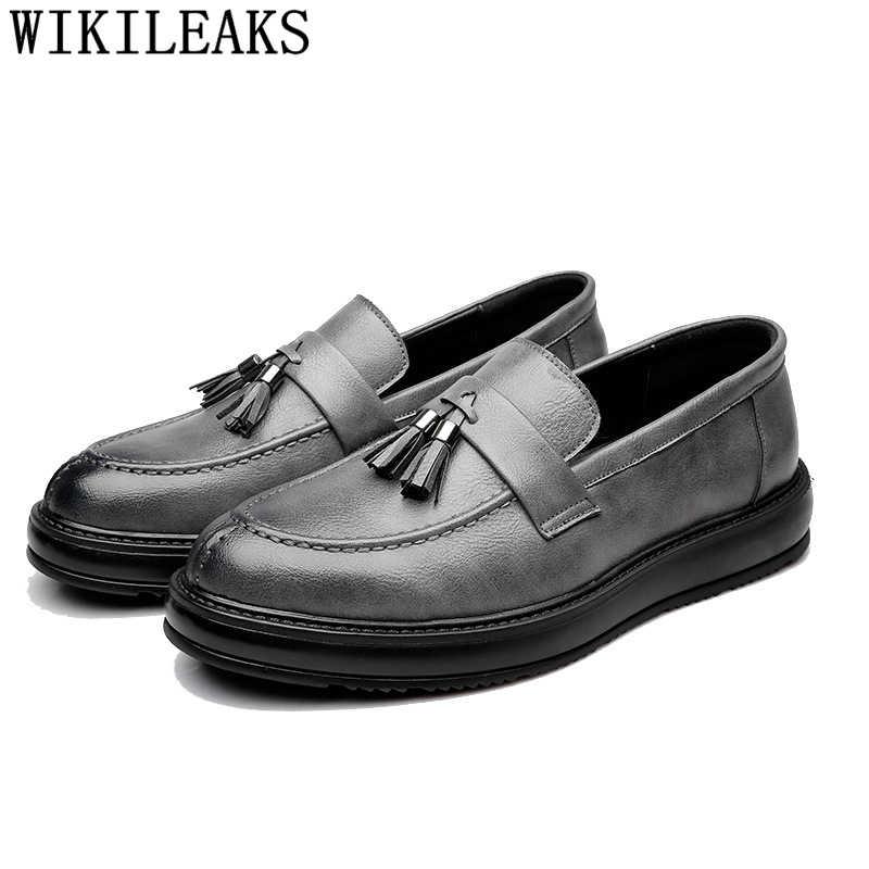 Püskül loafer'lar deri ayakkabı erkekler lüks marka erkek ayakkabı rahat tasarım ayakkabı erkekler yüksek kalite chaussure homme erkek ayakkabi