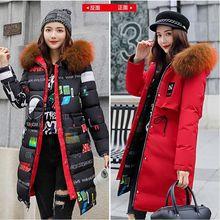 Womens Down Cotton Jackets New Plus size 3XL Parkas Thicker Hooded Colored  Big fur collar 2018 Winter High quality Wadded Coat цена в Москве и Питере