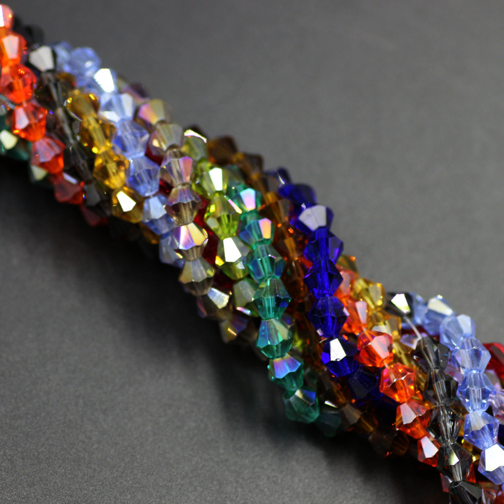 Crystal Bead Beads: Czech Seed Bicone Bead 195ps 2mm Colorful Crystal Small