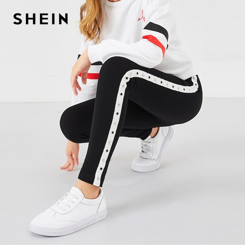 SHEIN Kiddie Elastic Waist Eyelet Tape Side Girls Pants 2019 Spring Fashion Active Wear Casual Trousers Pants Girl Kids Clothes girls contrast tape pants