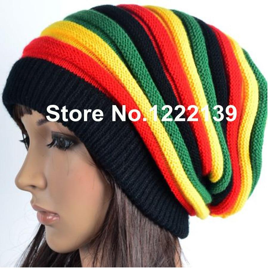 RASTA REGGAE JAMAICAN Beanie Slouchy Wrap Knitted Cap Fashion Hip Hop Bob  Marley Style Black Green Yellow Red Stripe Hat 7314caaa61f