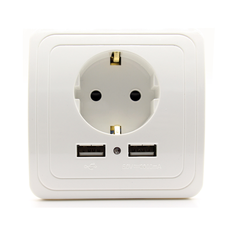 Maison intelligente Meilleur Double USB Port 2000mA Mur Chargeur Adaptateur Standard 16A UE Prise Électrique Socket Prise de Courant Panneau
