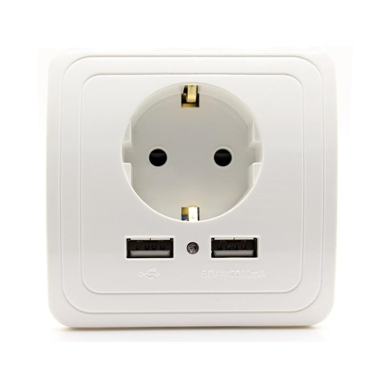 Smart Home Best Dual USB Port 2000mA Wall <font><b>Charger</b></font> Adapter 16A EU Standard Electrical Plug Socket Power <font><b>Outlet</b></font> Panel