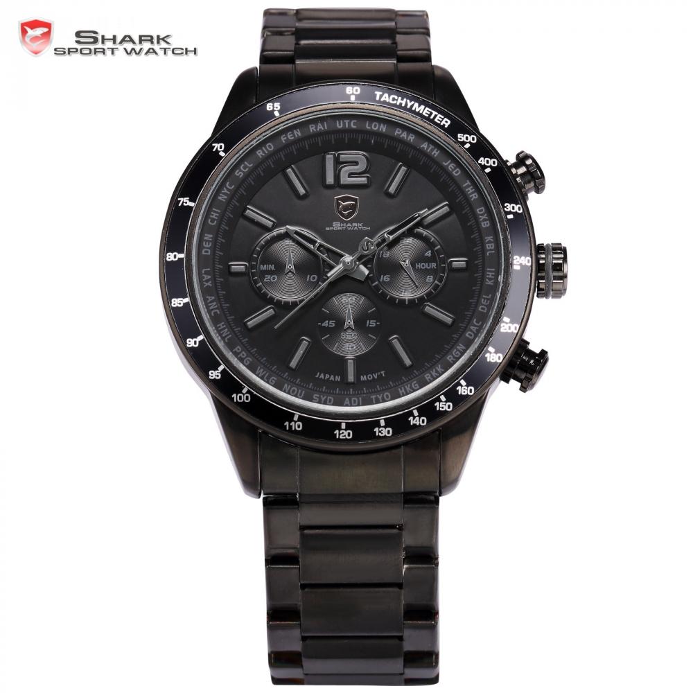 Prix pour Pacifique ange shark sport montre 24 heures chronographe noir inoxydable complet bracelet en acier étanche militaire quartz montres/sh319