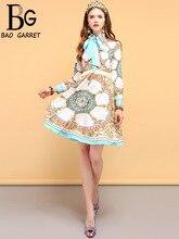 купить Baogarret Summer Fashion Designer Dress Women's Long Sleeve Beading Bow Tie Floral Printed Elegant Vintage Ladies Dresses дешево