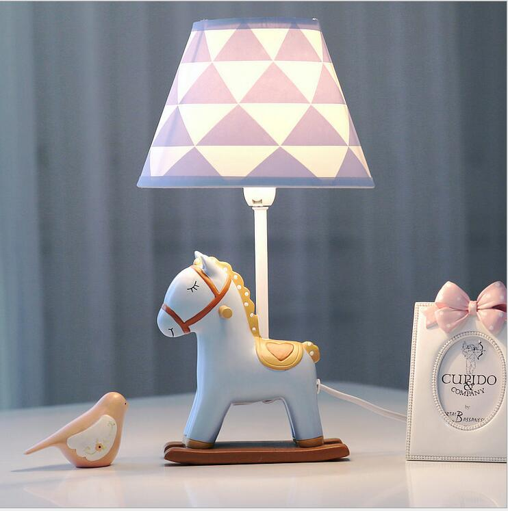 Pony dimmable LED lamp bedroom bedside lamp Warm light creative children's room Cute birthday gift creative cute green cartom car led night light for children baby kids white warm white bedside lamp resin night lamp gift
