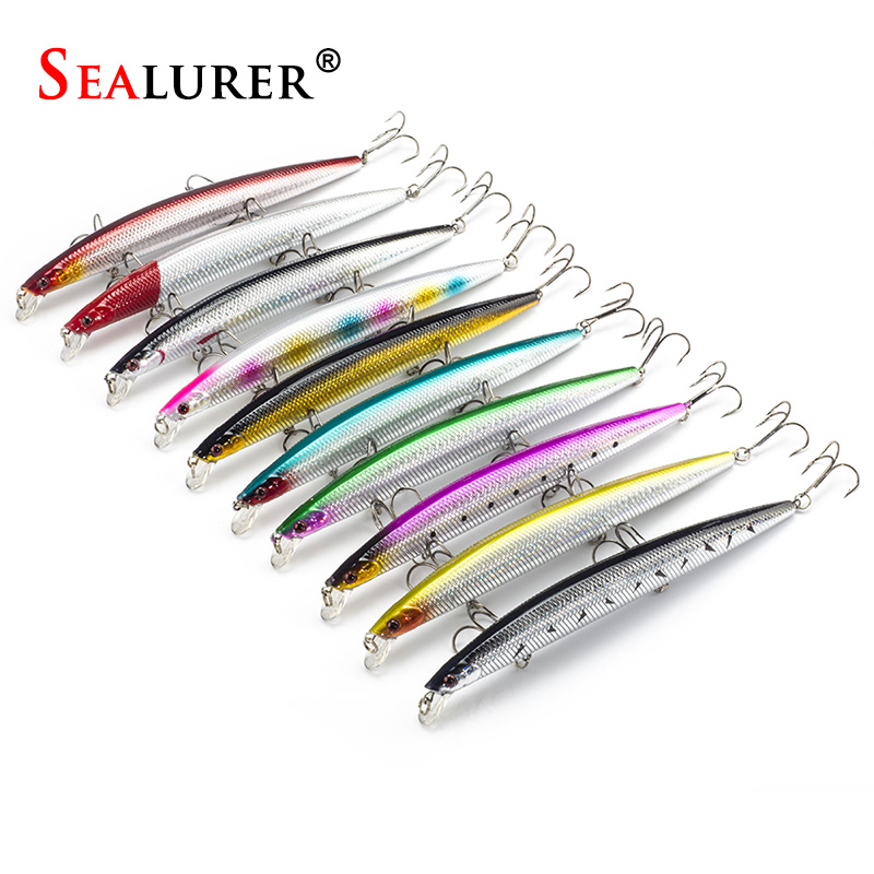 10pcs Long Minnow Fishing Lure Plastic Hard Bait  18cm 26g Isca Artificial Bait Crankbait Pike Like Wobbler 10 Colors 3 Hooks 15 5cm 15 3g wobbler fishing lure big minnow crankbait peche bass trolling artificial bait pike carp kosadaka free fishing