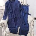 Ouro Reluzente Cardigans Primer Calças 3 pcs Terno Colete de Malha Elástico Na Cintura Calças de Comprimento Bezerro Mulheres Primavera Set Roupas Casuais
