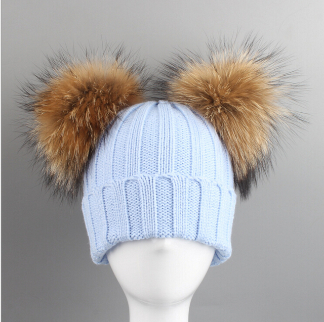 03373d76a9017a 2017 Baby Hat Raccon Real Fur Two Ball Caps For Boys Girls Winter Children Hats  Caps Woman knitted Beanie Faux Fur Pompom Hat