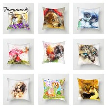 Fuwatacchi Colorful Animals Cushion Cover Flamingo Poppy Kitty Dogs Throw Pillow Decorative Sofa Pillowcase
