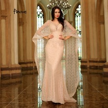 Finove Champagne Vintage Mermaid Evening Dress 2020 New Arrivals Pearls Embroidery Dress With Cloak Elegant Woman Party Dress