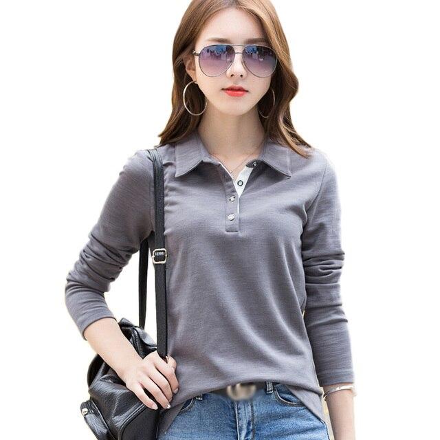 e333ae1d3 2019 primavera Otoño de manga larga de las mujeres camisas de Polo de  algodón sólido negro/Blanco/azul/gris para mujeres Polos camiseta Tops Plus  ...