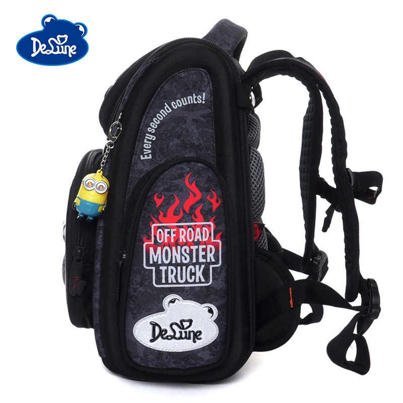 Delune wzór samochodu torby szkolne dla chłopców dziewcząt plecaki z postaciami z kreskówek dzieci plecak ortopedyczny składany podstawowy mochila infantil