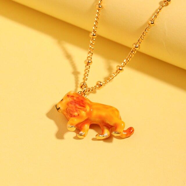 Raisin juteux 2019 nouveau jaune fait à la main émail glaçure Lion pendentif collier clavicule chaîne femme Animal collier bijoux de mode