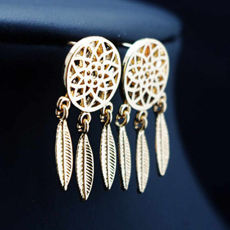 Boho Style Earring Gold Dream Catcher Feathers Dangle Earring for Women Bohemian Jewelry Gift Wholesale