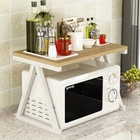 Simple Fashion Microwave Oven Shelf Kitchen Storage Rack Multi use Oven Spice Rack Steel+Wood Kitchen Supplies