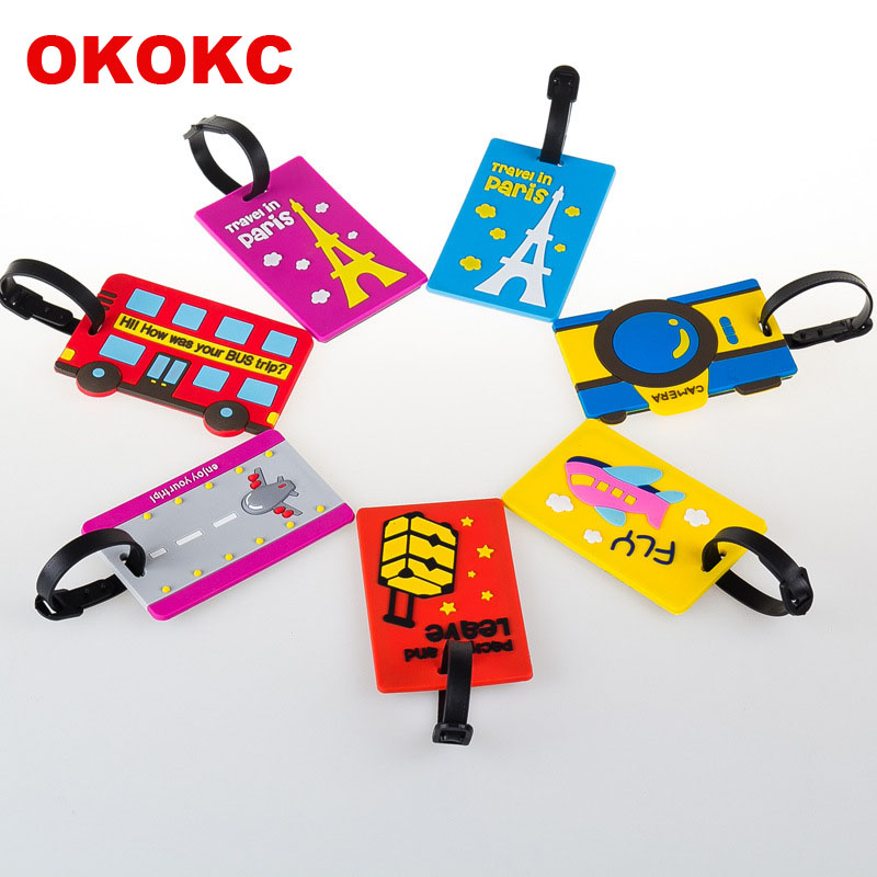 OKOKC Cartoon Style Travel Accessories Luggage Tag Cute Fashion PVC Portable Travel Label cartoon airplane style red