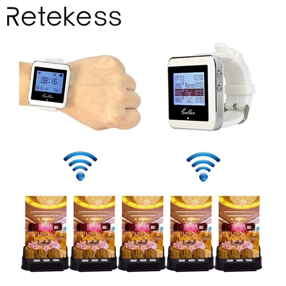 Système d'appel de carte de Table sans fil système de téléavertisseur d'appel pour Restaurant café Shop 2 récepteur de téléavertisseur + 5 bouton d'appel de serveur