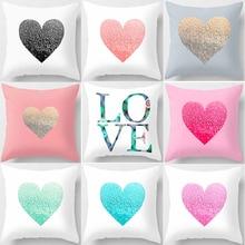 Hot sale different colors love heart shape and elephants double patterns Pillow cases square pillow cover size 45*45cm