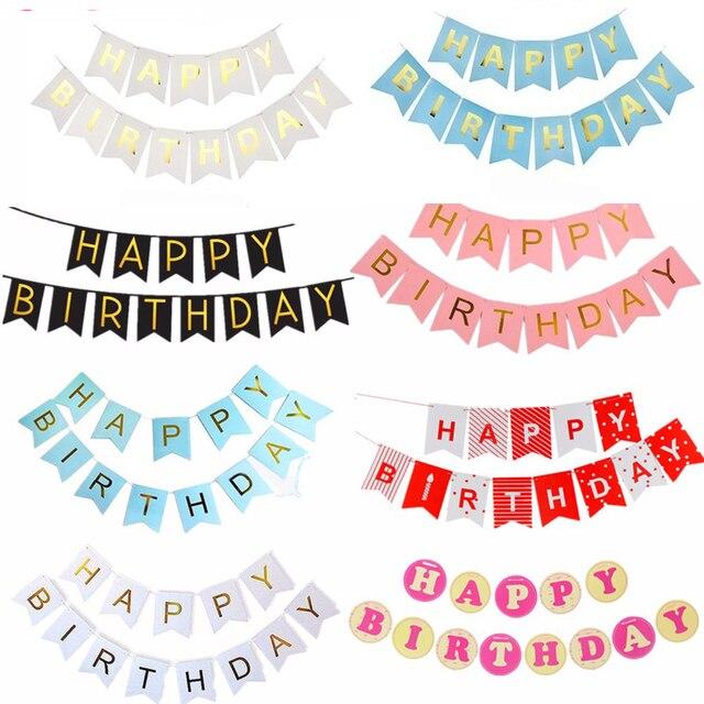 Happy Birthday Bunting Banner Glitter Happy Birthday Banner Garland