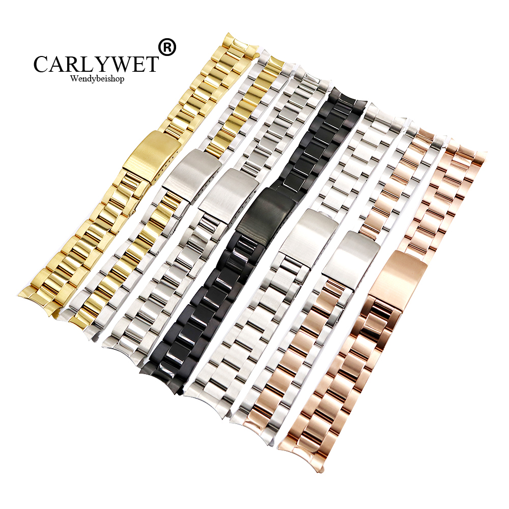 CARLYWET 13 17 19 20mm Wholesale 316L Stainless Steel Two Tone Rose Gold Silver Watch Band Strap Oyster Bracelet For Dayjust