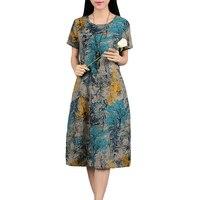 Summer Style 2017 New Fashion Cotton Linen Plus Size Vintage Print Women Casual Loose O Neck