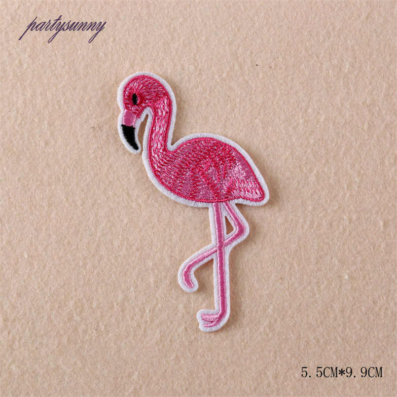 PF Cartoon Stickers for Clothes Patch Children Applique Flamingo Iron on Patches for Clothing Stripes Backpack Accessories RH005