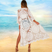 Lace Long Beach Kimono Cardigan White Cover Up Women Summer 2019 Boho Plus Size Clothing Bikini Outer Top Blouse Mesh Floral plus lace panel floral blouse