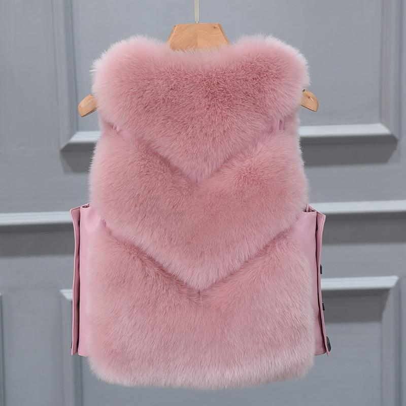 Chaleco De Piel verde caqui rosado Fur Militar Las Moda gris Señoras 2019 Invierno Nueva Coat Abrigo Mujeres Para Cintura Faux Negro Chaqueta xvYnwOUFnq