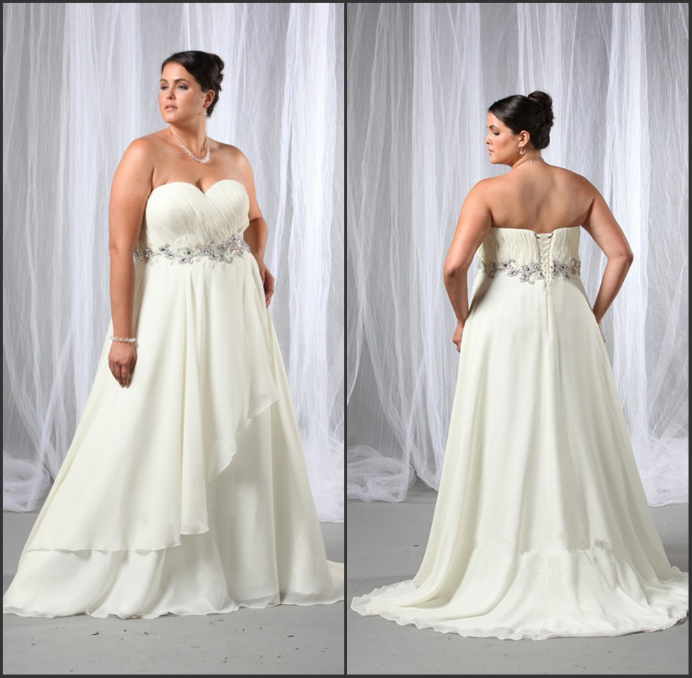 2019 Sexy Sweetheart Beading Belt A Line Chiffon Ivory Plus Size Wedding Dresses With Lace Up Back Bridal Gowns