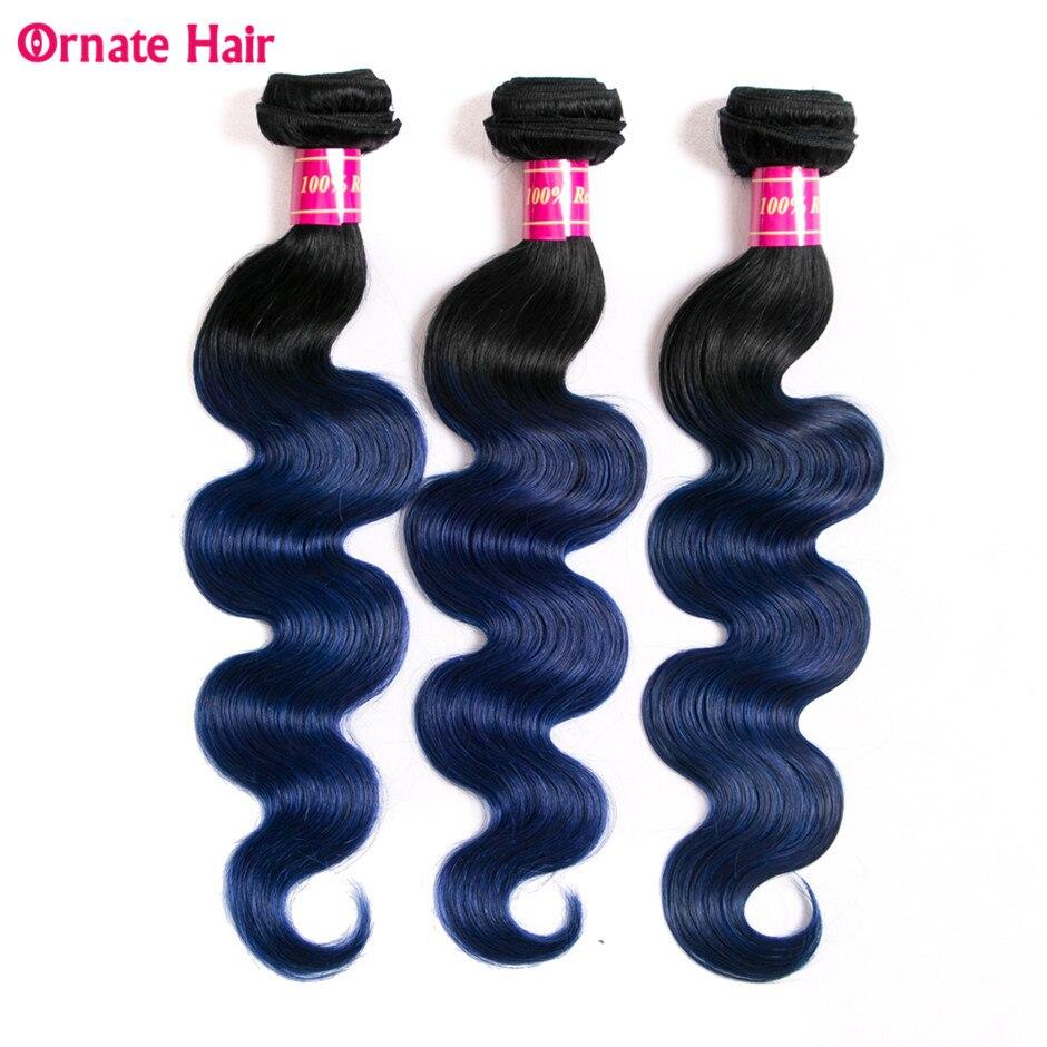 Ornate 3 Bundles Brazilian Body Wave Two Tone Human Hair Weave Bundles Non Remy Ombre Hair