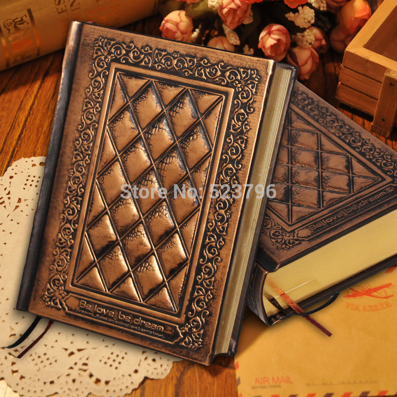 Free shipping 2014 new notepad European retro handmade embossed super-thick notebook/ vintage leather notebook freeshipping retro handmade stitching binding cloth covered notebook chinese style lotus printing notebook