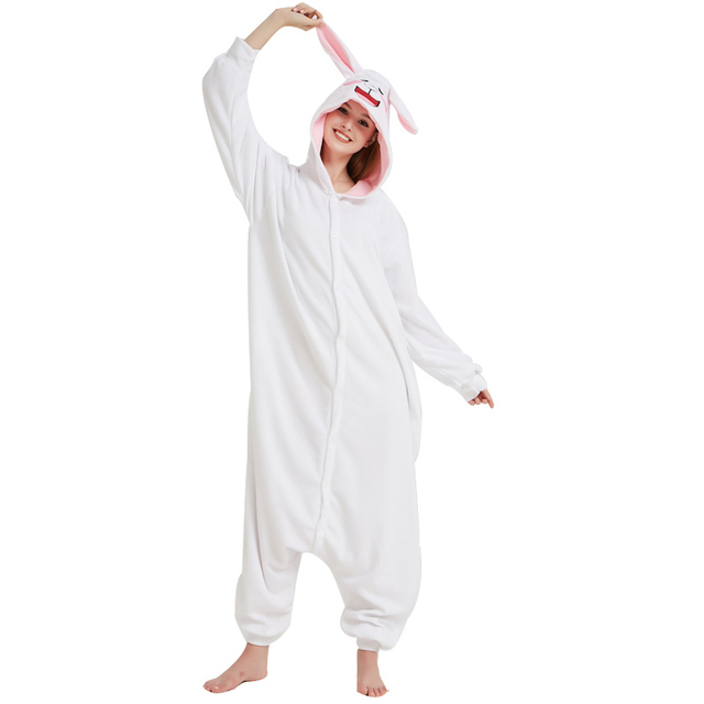 b0c81a3196cd Cony Bunny Kigurumi Soft White Fleece Pajamas Rabbit Onesie For Adult Women  Winter Home Cosplay Party Jumpsuit Halloween Costume