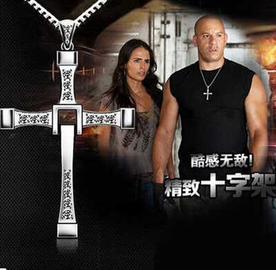 Hot Movie Fast & Furious Same Style Stainless Rhinestone Men's Cross Pendant Necklace/ Fashion Men's Pendant Necklace Jewelry