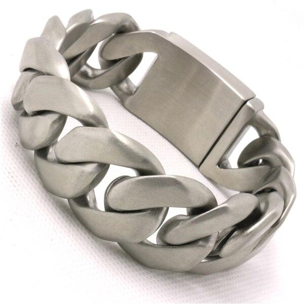 Prix usine 25mm énorme et lourd Bracelets et Bracelets terne polonais hommes Biker chaîne en acier inoxydable Bracelet