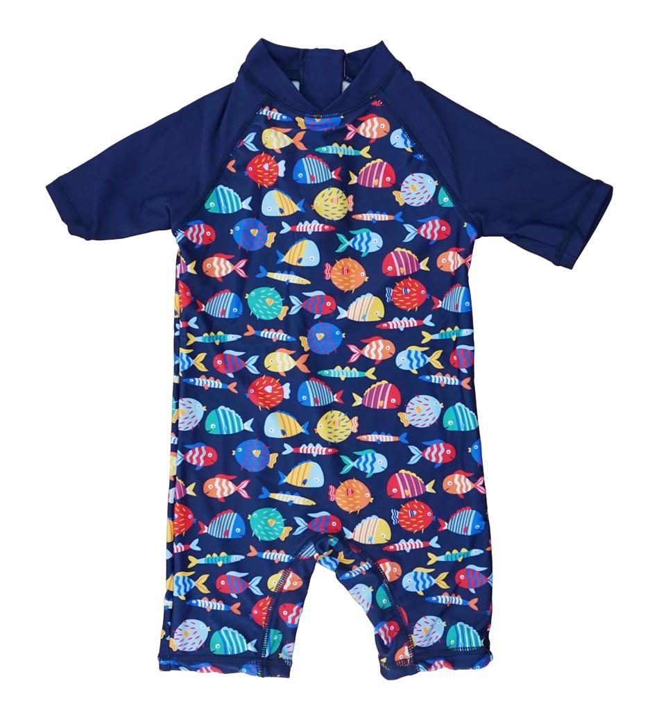 Bonverano(TM) Baby Boys' Sunsuit Swimwear UPF 50+ Sun Protection S/S Zipper Colorful Fish One Piece Swimsuit Rashguard handy plastic poop scooper for pet dog cat black purple