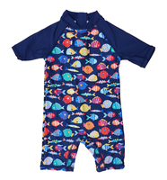 Bonverano TM Kids Sun Suit UPF 50 Sun Protection S S Zipper Colorful Fish One Piece