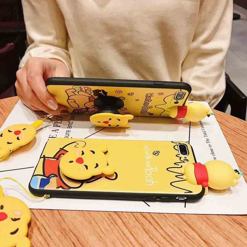 3D Cute Winnie Pooh Bear Case for Huawei honor mate P 30 20 10 9 7 lite pro nova 4 3 Cartoon Doll Toy Wrist Strap Soft TPU Cover