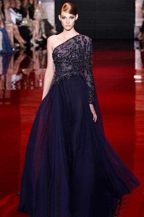 Élégant À Manches Longues Elie Saab Robe de Soirée robe de festa azul royal  Marine Bleu