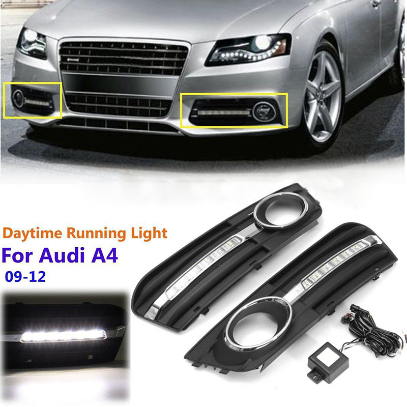 1 Pair Car Fog Light Bezel Grille Cover LED Daytime Running Lamp White Light For Audi A4 B8 2009 2010 2011 2012 2x led daytime running light with fog lamp cover for mercedes benz ml350 w164 2006 2007 2008 2009 automotive accessories
